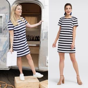 Draper James Navy Blue Stripe Shift Dress 2